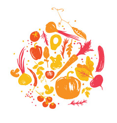 Yellow-red colored various of vegetables in circle vector