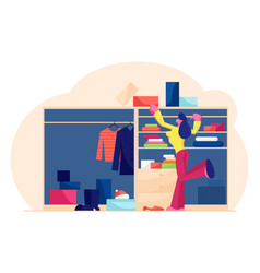 Young woman choosing fashion outfit in dressing vector