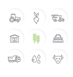 agriculture farming line icons set vector image vector image