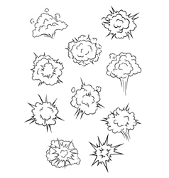 Assorted cartoon explosion effects and clouds vector image