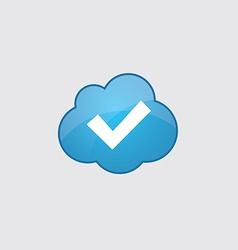 Blue cloud ok icon vector image