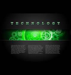 Metal Technology Panel With Green Glowing Gears vector image vector image