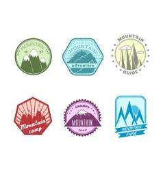 Snowy mountains labels collection vector image vector image