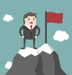 Businessman on mountain summit vector image