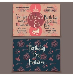 Ice skating birthday party invitation cards vector image vector image