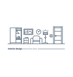 simple interior apartment design services line vector image vector image