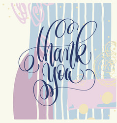 thank you hand lettering poster on abstract vector image