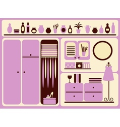 Wardrobe room interior and objects set vector image vector image