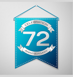 blue pennant with inscription seventy two years vector image