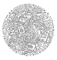 cartoon cute doodles traveling vector image