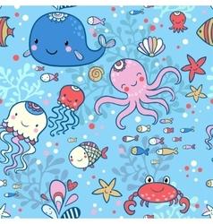 Cartoon marine seamless pattern vector image vector image