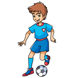 football playing boy vector image vector image
