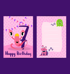 happy birthday cards with cute monsters vector image