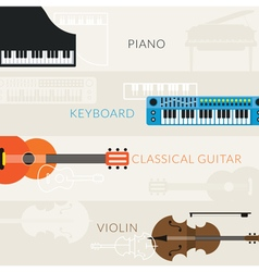 Music Instruments Objects Banner Background vector image vector image