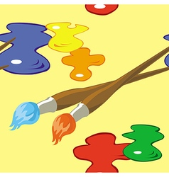 Paintbrushes and paint spots seamless pattern vector image