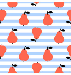 red pear seamless blue striped pattern on white vector image vector image