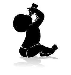 silhouette baby drinking from baby bottle vector image vector image