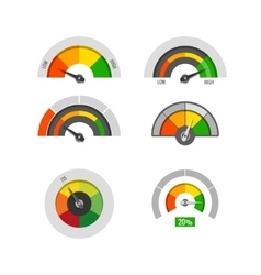 Speedometer indicators gauges low moderate and vector image