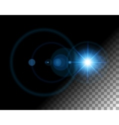 Abstract lens flare lights on transparent vector image vector image