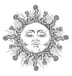 antique style hand drawn art sun boho chic tattoo vector image