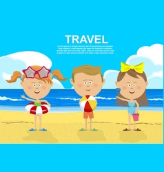 children standing on the beach vector image vector image