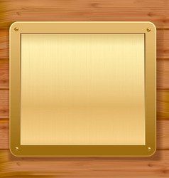 gold metalic plaque wood background vector image