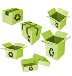 Green cardboards with recycle sign set vector image vector image