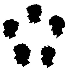 human heads silhouette set vector image vector image