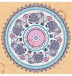 Indian ethnic mandala ornament with tribal aztec vector image