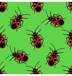 Seamless pattern with bug-soldier or Firebug vector image vector image