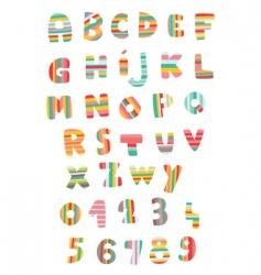 striped alphabet vector image vector image