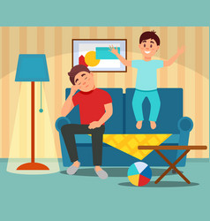 tired father sitting on the couch next to the vector image