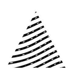 Triangle with black curved lines vector