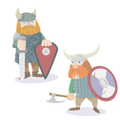 Two viking warriors flat style vector