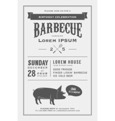 Vintage birthday party barbecue invitation vector image