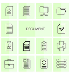 14 document icons vector image