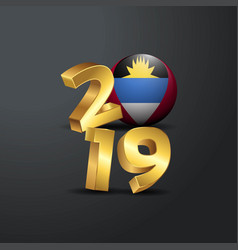 2019 golden typography with antigua and barbuda vector