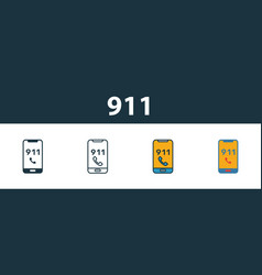 911 icon set premium symbol in different styles vector