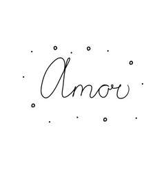 Amor phrase handwritten with a calligraphy brush vector