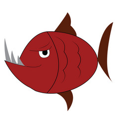 an angry red fish with sharp long teeth color vector image