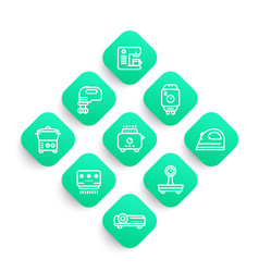 appliances consumer electronics line icons set vector image