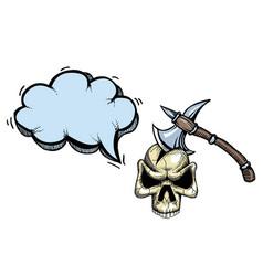 Axe in skull-100 vector