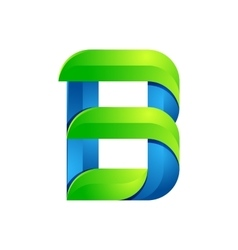 B letter leaves eco logo volume icon vector