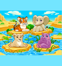 baby cute jungle animals in a natural landscape vector image