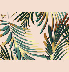 Background with gold green palm leaves glitter vector