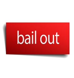 Bail out red paper sign isolated on white vector