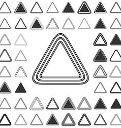 Black line triangle icon design set vector