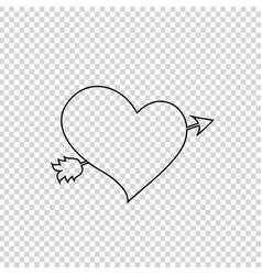 Black outline heart pierced with arrow on vector