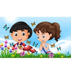 Boy and girl in the garden full of butterflies vector