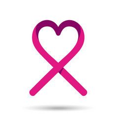 Breast cancer awareness love ribbon in pink color vector
